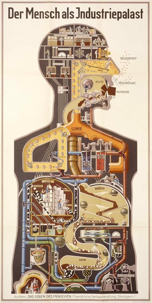 Fritz Kahn'ın insan bedenini bir sanayi gibi yansıttığı çalışması.