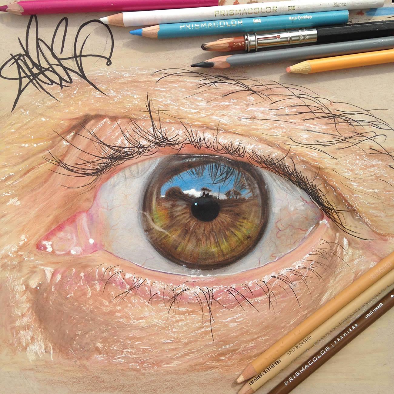 Hiperreal Kuru Boya Göz Çizimleri-2