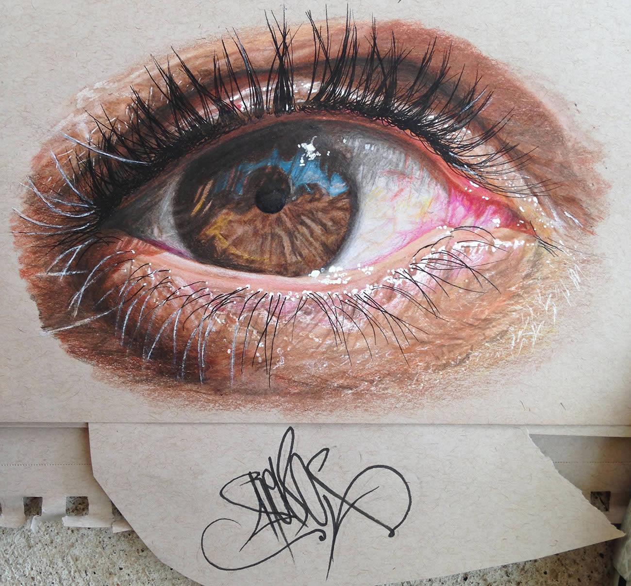 Hiperreal Kuru Boya Göz Çizimleri-4
