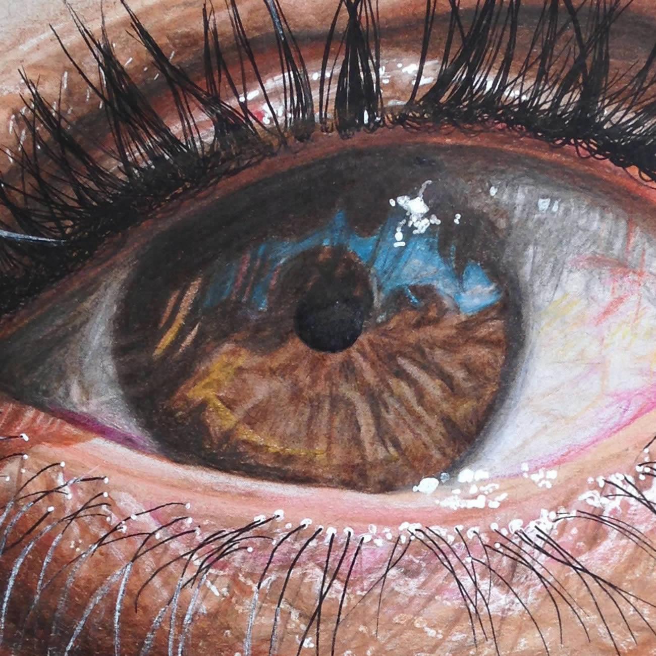 Hiperreal Kuru Boya Göz Çizimleri-5